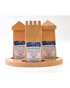 Caucasan Holzstreuer-Set auf Brett von oben